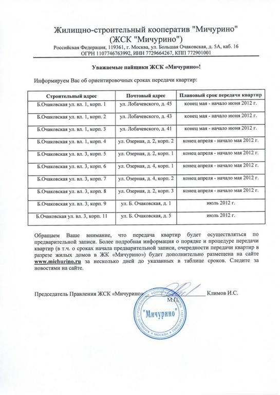 Информационное сообщение-уведомление для пайщиков ЖСК «Мичурино»